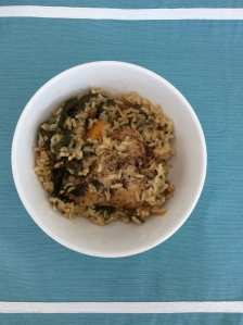 Chicken and rice with swiss chard